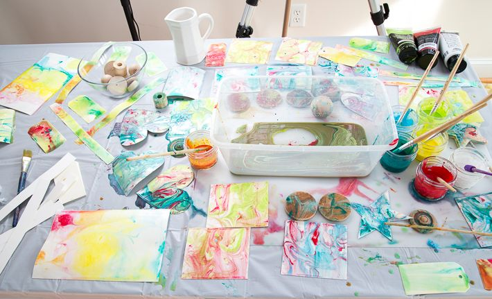 Paper Marbling With Acrylic Paint And Liquid Starch Acrylic Painting Painting Marble Paper