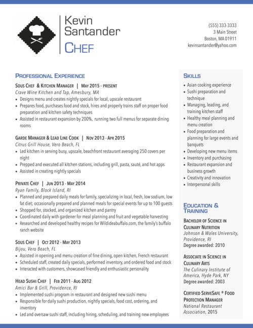 modern resume for chef graphic design