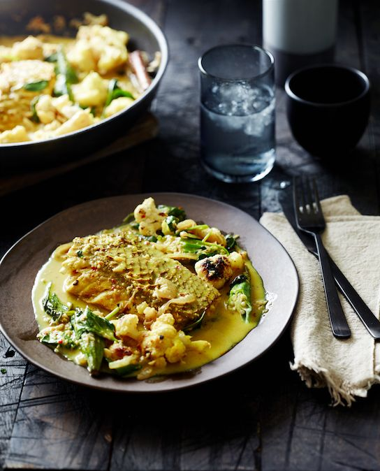 """PETE EVANS FAVOURITE #PALEO FRIENDLY DINNER DISH: """"Fish curry with roasted cauliflower and okra. It's bursting with beautiful herbs and spices, such as turmeric, cinnamon, coriander and cardamom and its full of interesting veggies""""."""