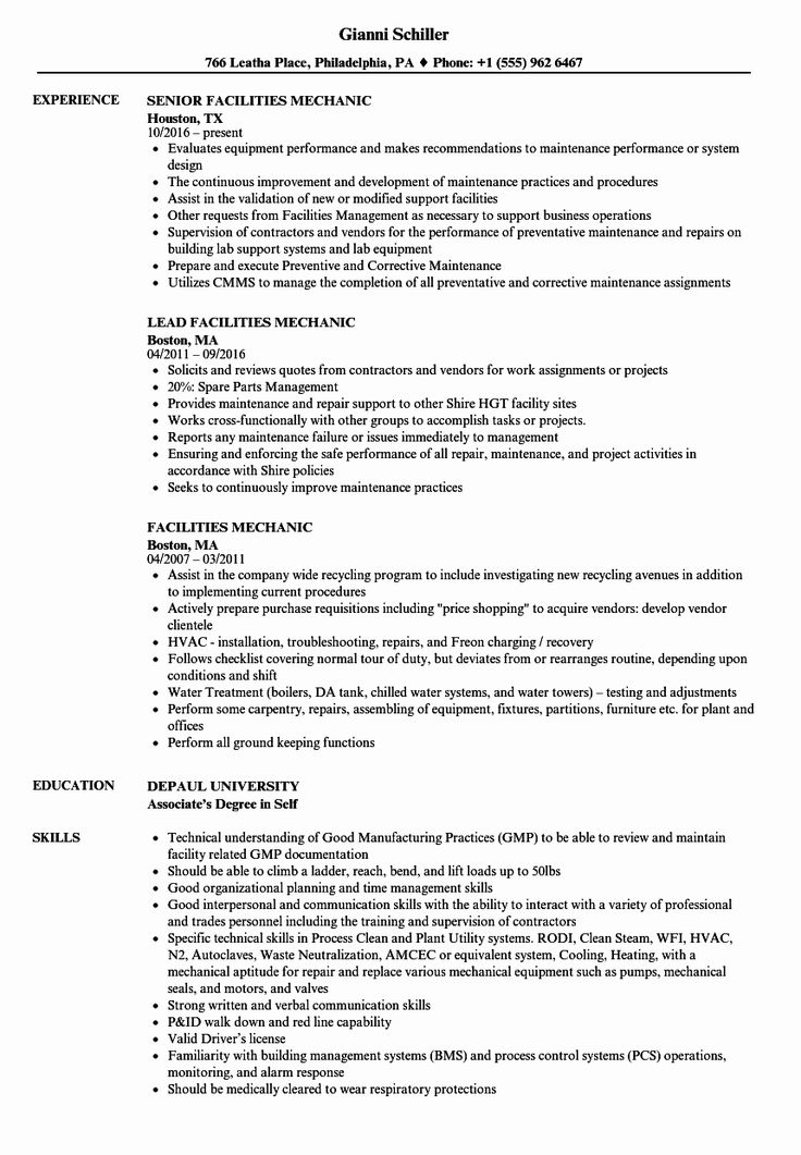 20 Heavy Equipment Mechanic Resume in 2020 (With images