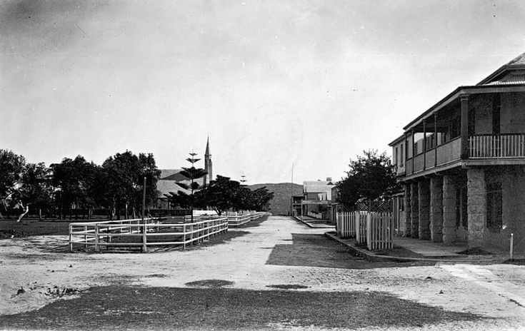 The Corso,Manly in the Northern Beaches region of Sydney in 1880.St Matthews Church in the far distance.The Steyne Hotel visible near right,looking west. •State Library of NSW•