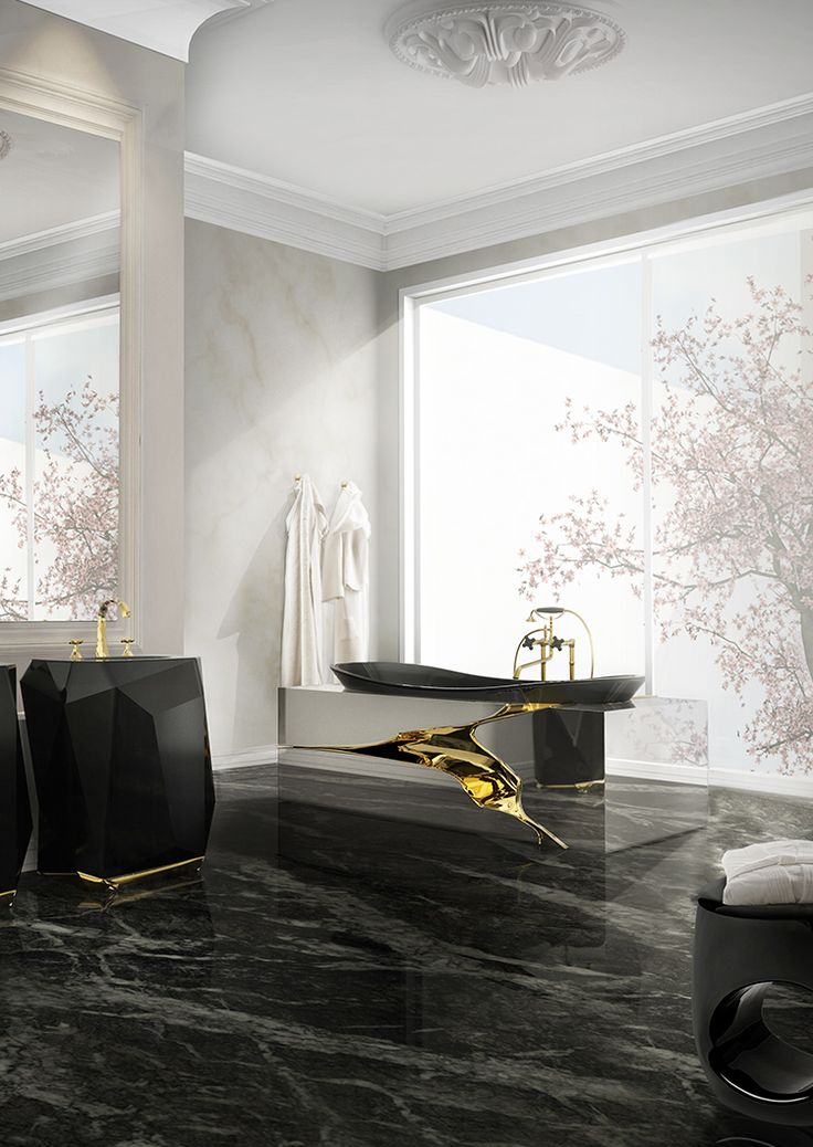Maison Valentina | Luxury Bathrooms, black & gold furniture is one of the biggest trend for luxurious bathrooms | www.bocadolobo.com | #luxurybedrooms #exclusivdesign #interiordesign