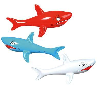 "Complete your beach party with this feisty inflatable shark. Assorted colors, our choice please. 46"""" wide.Includes: (1) assorted 46""""W inflatable shark, our choice please."