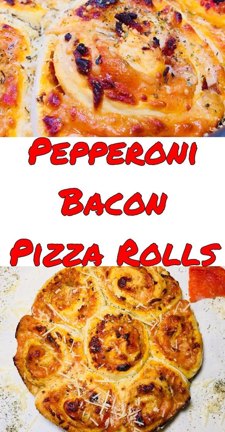 Pepperoni Bacon Pizza  Rolls