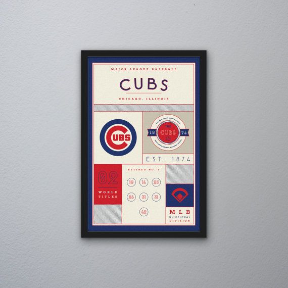 Chicago Cubs Stats Print by PortlySportsman on Etsy