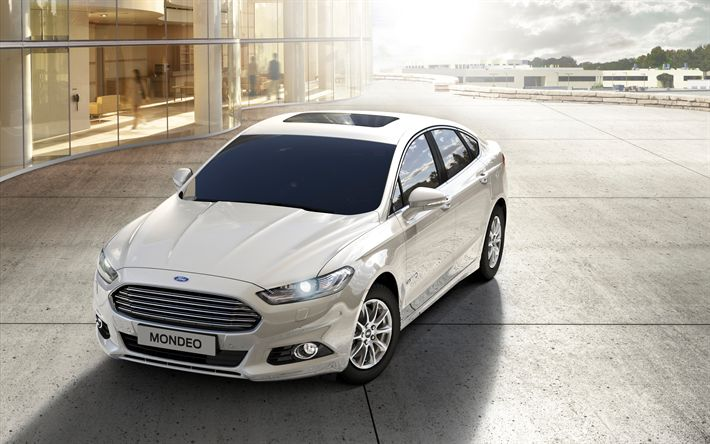 Download wallpapers Ford Mondeo Hybrid, 2018, white sedan, business class, American cars, white Mondeo, Ford