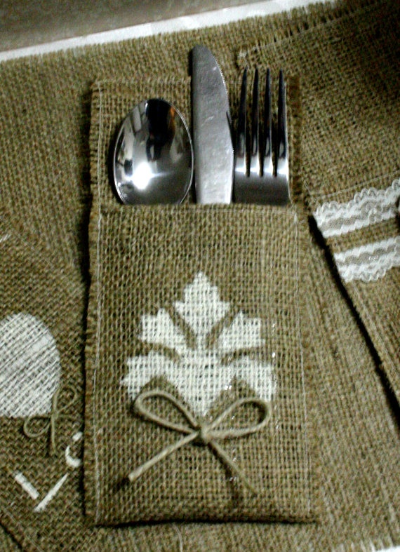 Burlap wedding silverware holders for country by Bannerbanquet, $18.00