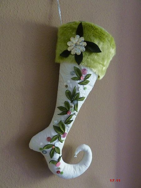 Nikolausstiefel - XXXL Nikolaus Stiefel Socke Elfe Fee grün rosa - ein Designerstück von strickmaus bei DaWanda