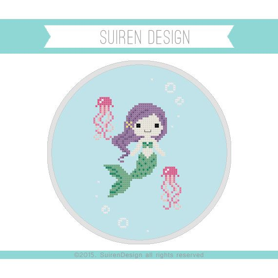 Mermaid & Jellyfish Cross Stitch PDF Digital by SuirenDesign