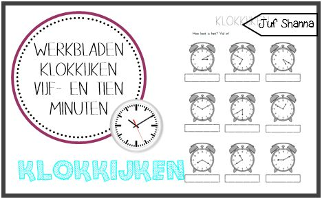 Klokkijken werkbladen: vijf- en tien minuten