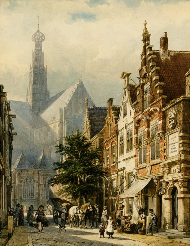 Many figures in the streets of Haarlem - Cornelis Springer