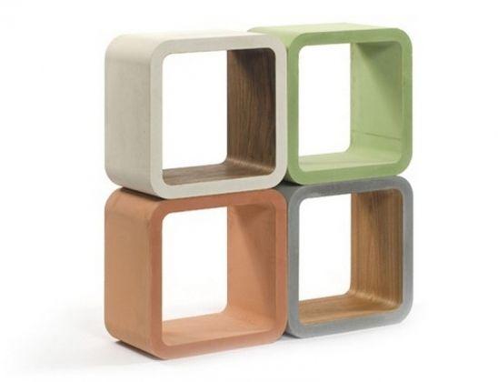 Étagères cubiques en bois et béton - Florian Kallus