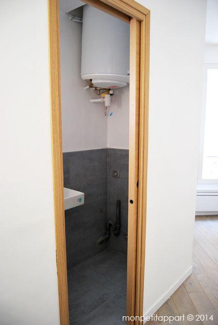 le ballon d 39 eau chaude et le lave linge ont t install s dans les toilettes nos r alisations. Black Bedroom Furniture Sets. Home Design Ideas