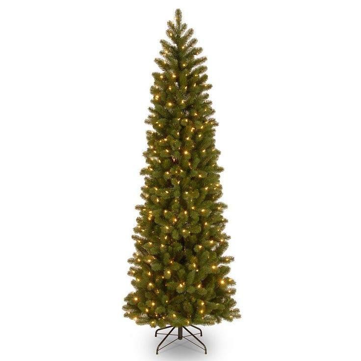 7.5-ft. Pre-Lit ''Feel Real'' Downswept Douglas Fir Pencil Slim Artificial Christmas Tree, Green