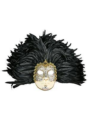 Piuma grande volto macrame argento piume nere - Venetian Mask keine