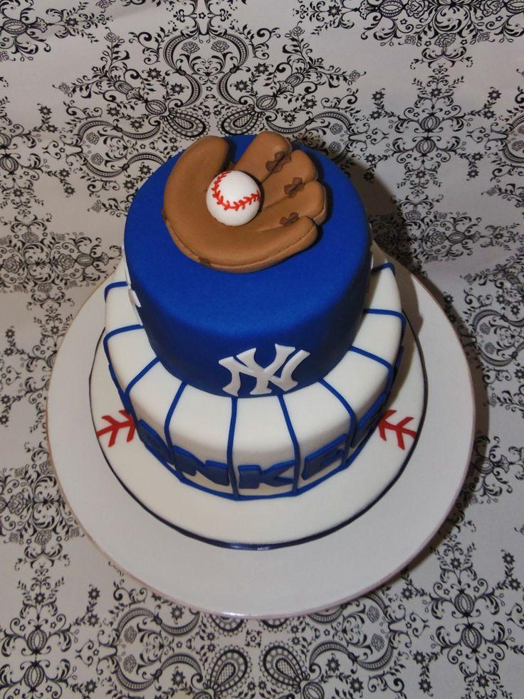 NY Yankees Grooms cake- Fondant Baseball glove cake topper
