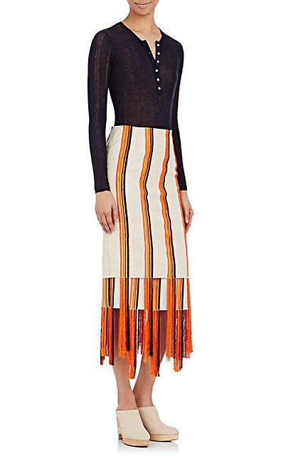 Gabriela Hearst Embroidered Canvas Orella Skirt - Knee Length - Barneys.com