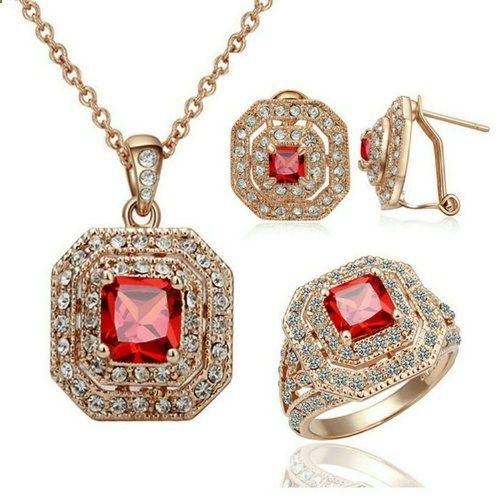 Yoursfs 18K Rose Gold Plated Simulate Diamond Vintage Ruby Necklace Ring and Earring Sets (8). Read more description on the website.