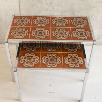 Pair Of Original Vintage Tiled Coffee Tables