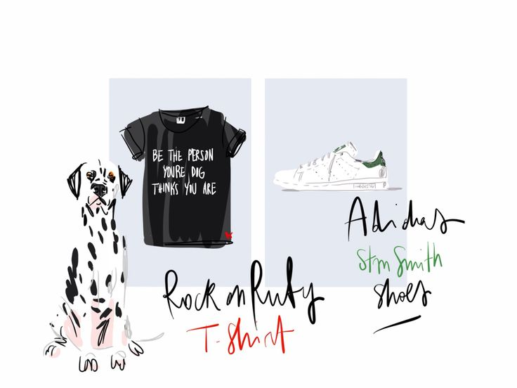 Be the person your dog thinks you are, Rock on Ruby T-shirt and Adidas Stan Smith gym shoes / Open Toe, fashion illustrated opentoeillustration.com
