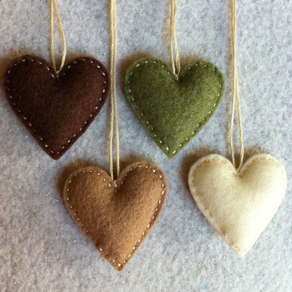 Chocolate brown, mocha and cream and olive/moss green felt ornaments ready to ship. $8.75, via Etsy.