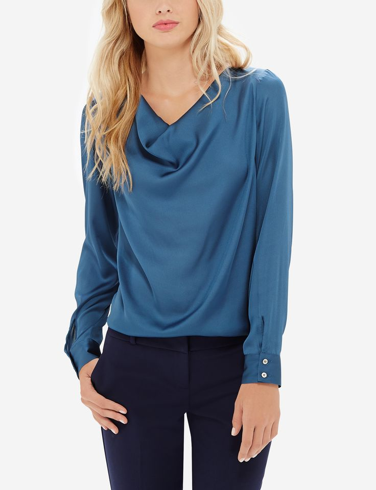 Silky Drape Neck Blouse - Silky crepe de chine has a luxurious look and feel, with a softly draping neckline that's undeniably feminine.