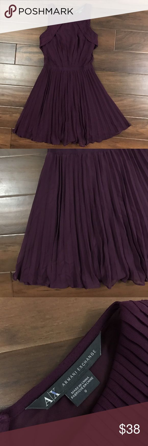 A/X Armani Exchange Size 0 Purple Pleated Dress A/X Armani Exchange Size 0 Plum Purple Sleeveless Accordion Pleating Dress, Lined, Pleating on Front, Exposed Back Zipper, No Stretch, Sheer Sides and Back Gently used with no noticed flaws Thanks for looking   :) A/X Armani Exchange Dresses Mini