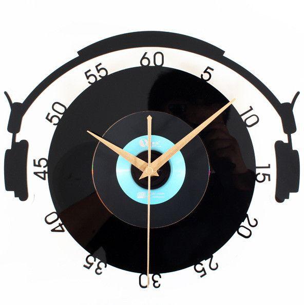 Vinyl Record Style Wall Clock Creative Retro Art