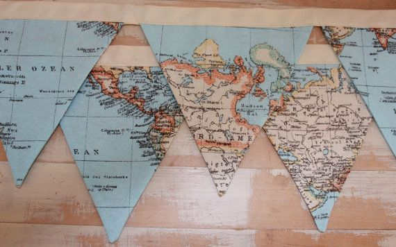 bunting map of the world travellers light blue grey decoration