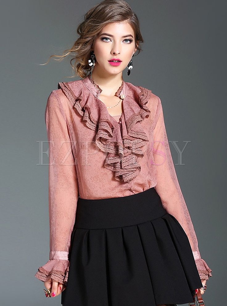 Shop for high quality Silk Vintage Falbala Collar Flare Sleeve Blouse online at cheap prices and discover fashion at Ezpopsy.com