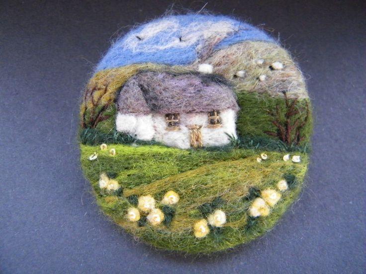 pretty twee textile art landscape welsh hillside design Handmade needle felted brooch        Primrose Cottage      by Tracey Dunn