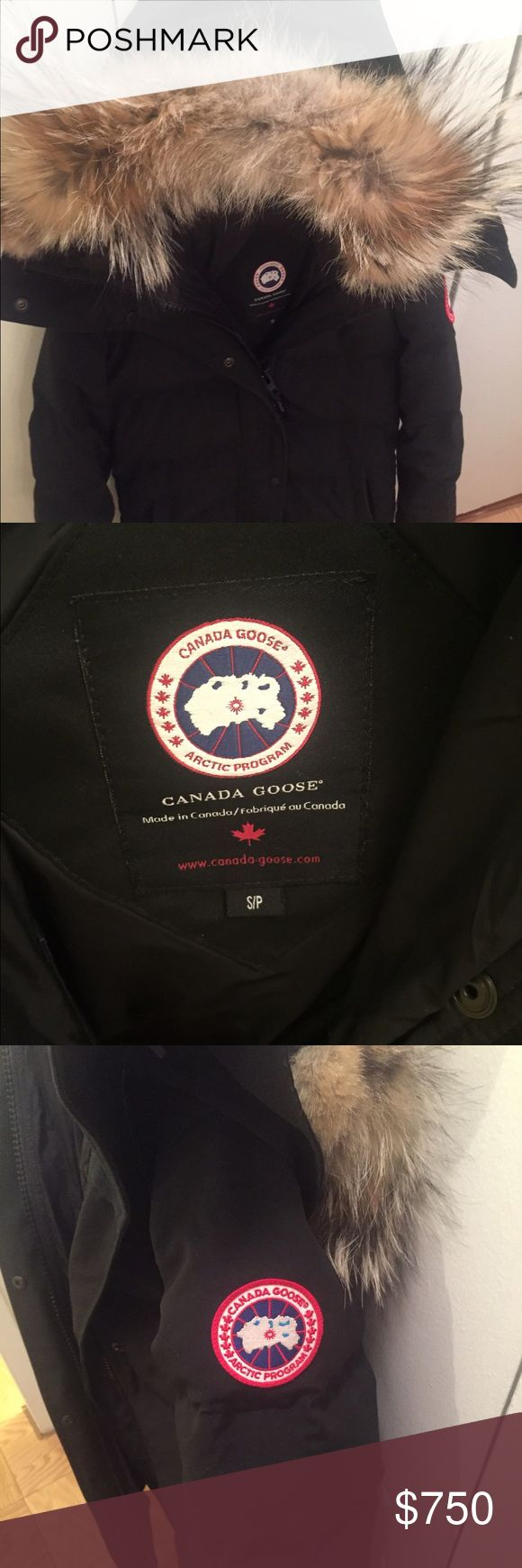 Canadian Goose Shelburne Parka This lightly used size S/P Canada Goose Shelburne Parka is sure to keep you warm on the coldest of days, while looking chic at the same time! This Parka is great for everyday use and for extreme weather. The fit is slim and is thigh length. It is filled with the company's famously warm white duck down, with a removable coyote fur hood.  It has exterior fleece-lined handwarmer pockets, a storm flap over centre front zipper, and interior shoulder straps. Great…