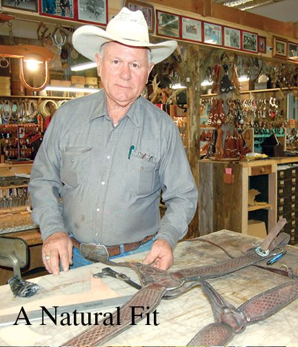 Former bull rider operating saddle shop, antique store