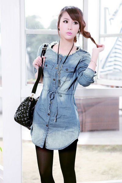 2012-Plus-Size-Washed-Antique-Finished-Blue-Jeans-Shirts-for-Women-Long-Denim-Shirt-Draped-Belt.jpg 400×600 pixels