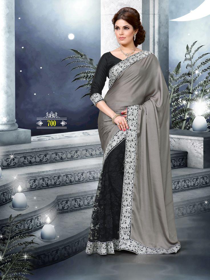 Grey and black net saree