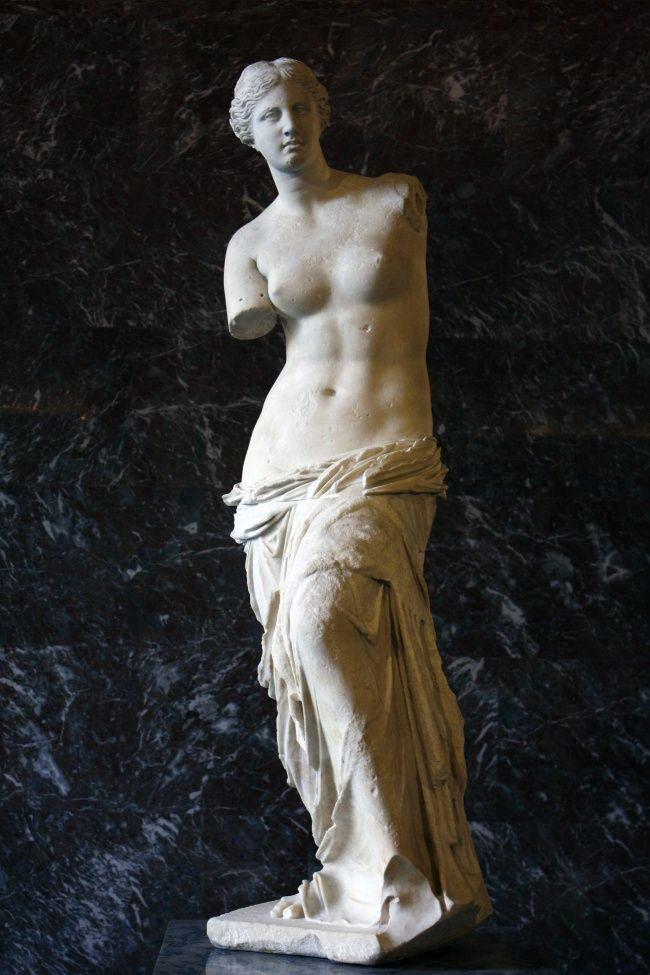 'Venus de Milo'' by Alexandros of Antioch (?), ca. 130-100 B.C. This statue of Venus is one of the best-known sculptures in the Louvre in Paris. A Greek peasant is said to have found it in 1820 on the isle of Milos. When discovered, the statue was broken into two large pieces, and in her left hand the goddess was carrying an apple, while her right was holding her dress from falling on the ground.