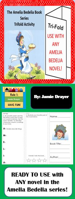 This resource engages students in a reading activity and can be used as a whole group, small group, or even literacy center activity. For early finishers, assign a book in the series you've created an authentic and challenging reading enrichment assignment. Best part is...you can use with ANY of the Amelia Bedelia novels!!!  Content of this resource includes: Acrostic poems, nouns, writing in complete sentences, retelling, and idioms.