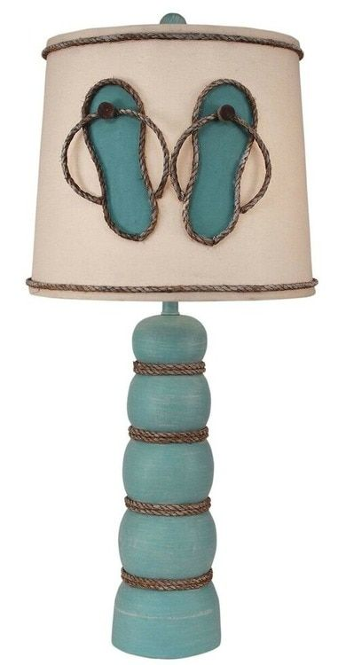 "Add this 32.5"" tall beach cottage ready turquoise sea Beachcomber Flip Flop Table Lamp to any room that needs extra lighting with casual pretty coastal style!"
