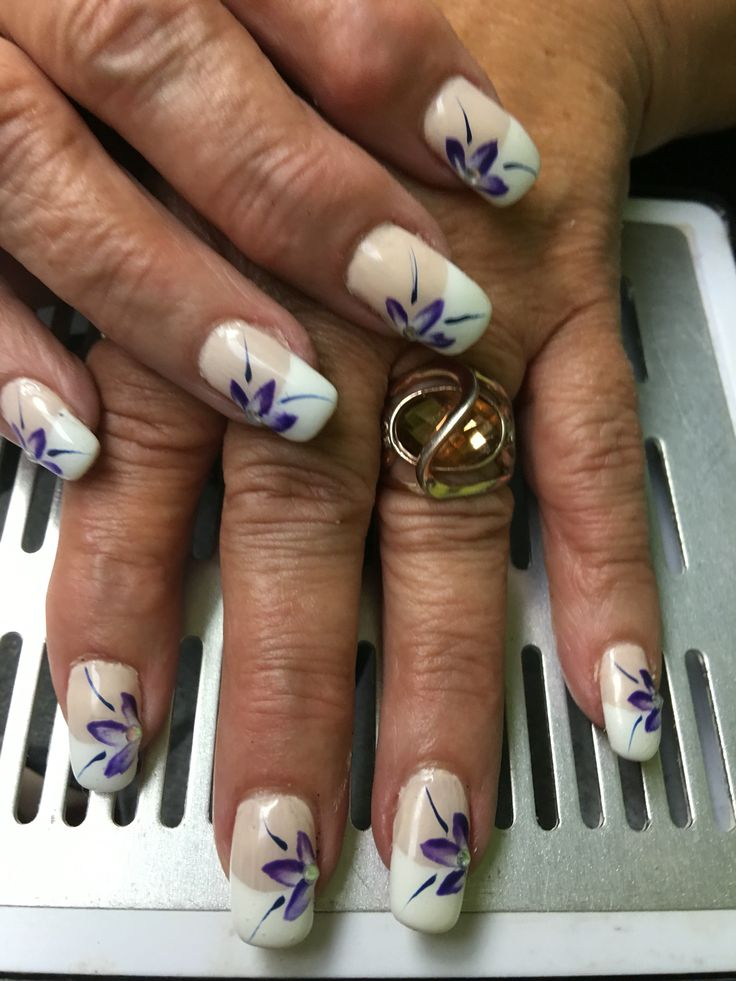 French with purple flower art gel nails