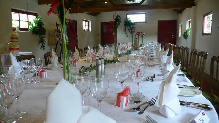 The Milking Parlour set for a lunch for 40 people Pangdean Sussex