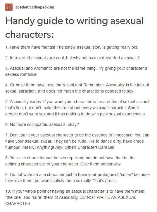 Ten Tips for Writing Asexual Characters