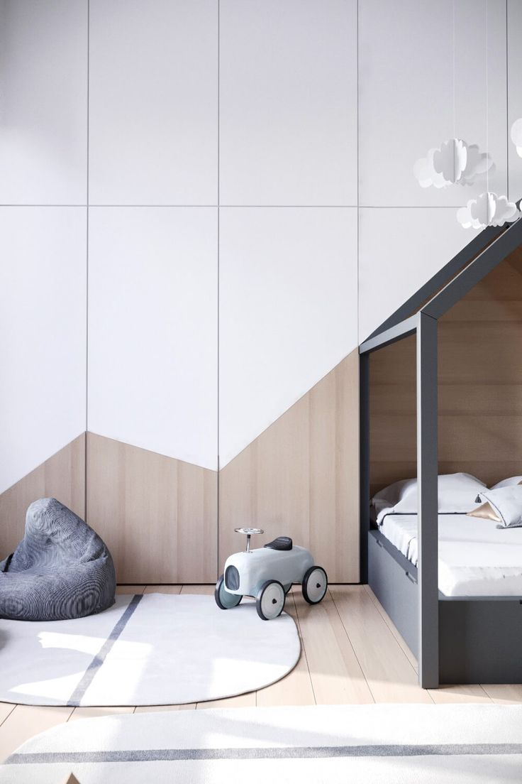 It is Interior Tuesday and I fell in love with these very clean kids rooms. So simple and yet fun. Sleek and surely rather easy to organise and clean up.