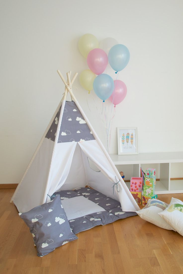 Gray clouds kids teepee play tent with a padded floor mat by WigiWama on Etsy & 41 best kids teepee and play tents images on Pinterest | Teepee ...