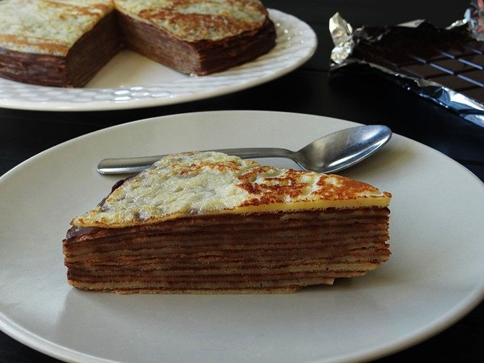 Crepe and gateau from cooking utensil
