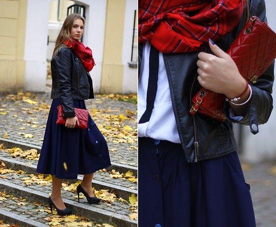 H&M Leather Jacket, Stradivarius  Bag, H&M Tartan Scarf