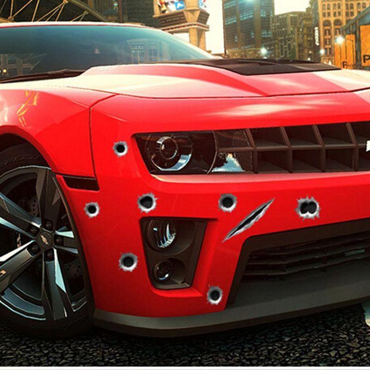 1ピースbullethole車ステッカー車のスタイリング3d撮影穴パターンオートバイヘルメットスクラッチ面白いステッカー用オペルvw、bmw、フォード