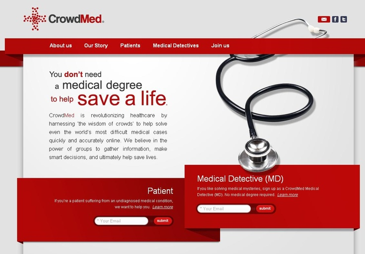 "#TECH4GOOD ""CrowdMed is revolutionizing healthcare by harnessing 'the wisdom of crowds' to help solve even the world's most difficult medical cases quickly and accurately online"" >> https://www.facebook.com/photo.php?fbid=475380785878158=a.268073546608884.64035.242037175879188=1"