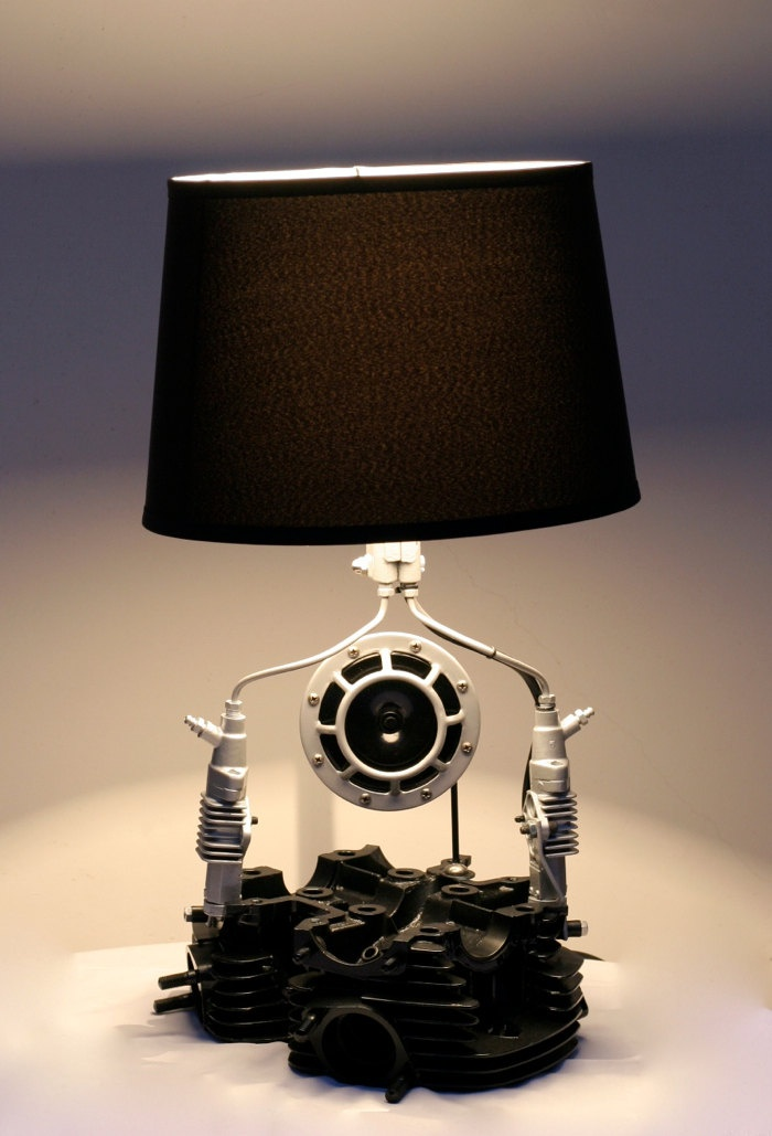 Nice Handmade, Upcycled Lamps Made From Motorcycle Parts.