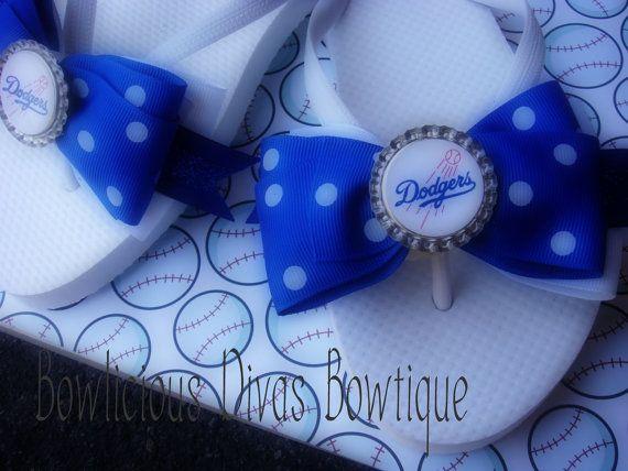 LA Dodgers Bow Flip Flops by Bowliciousdivas on Etsy, $17.95