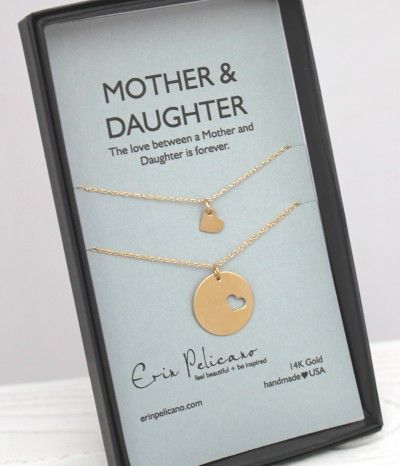 Wedding Gift Mother Daughter : Wedding gift idea for the MOB 14k Gold Mother Daughter Heart Necklace ...
